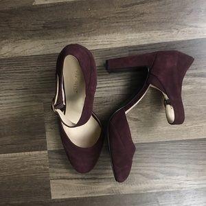 Nine West maroon suede heels size 7.5
